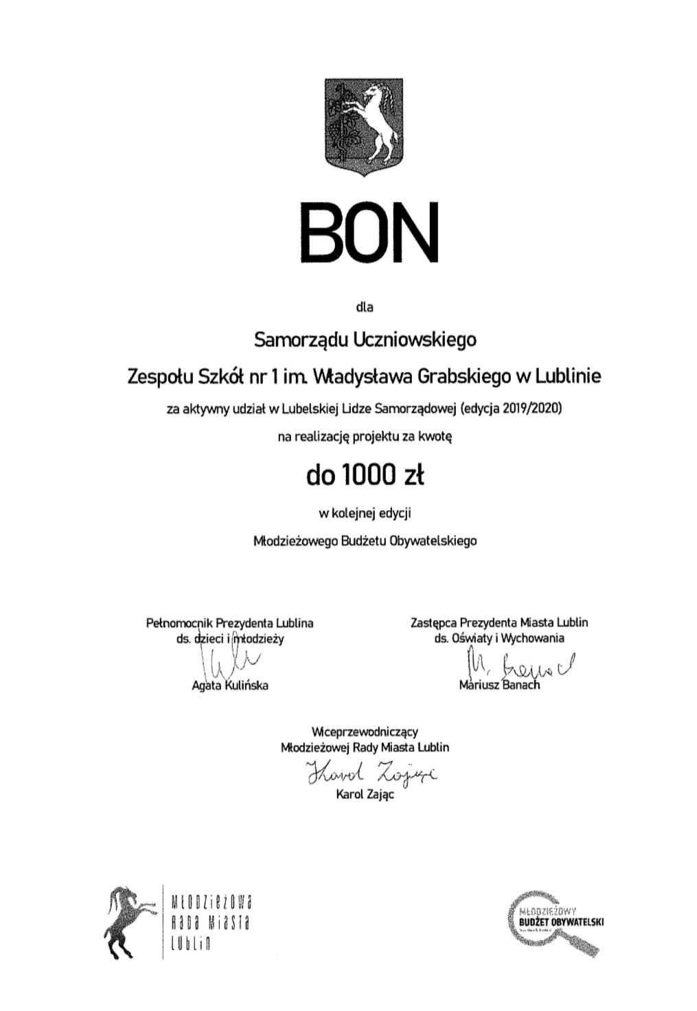 Samorząd Uczniowski ZS nr 1 – Liderem Lubelskiej Samorządności Uczniowskiej